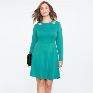 🆕 Eloquii green shoulder cutout dress size 26